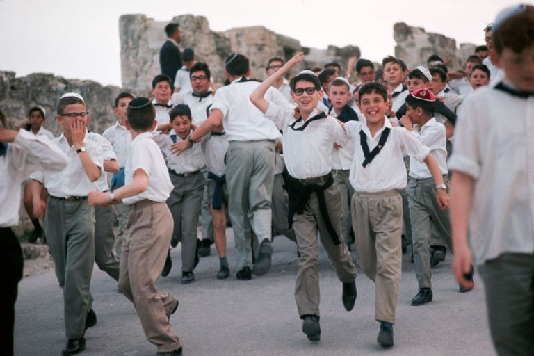 Young Men Headed for the Western Wall