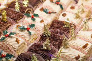 chocolate and vanilla cream roll dessert for Christmas