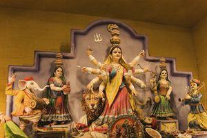 Statue of goddess Durga in a temple, Kolkata, West Bengal, India