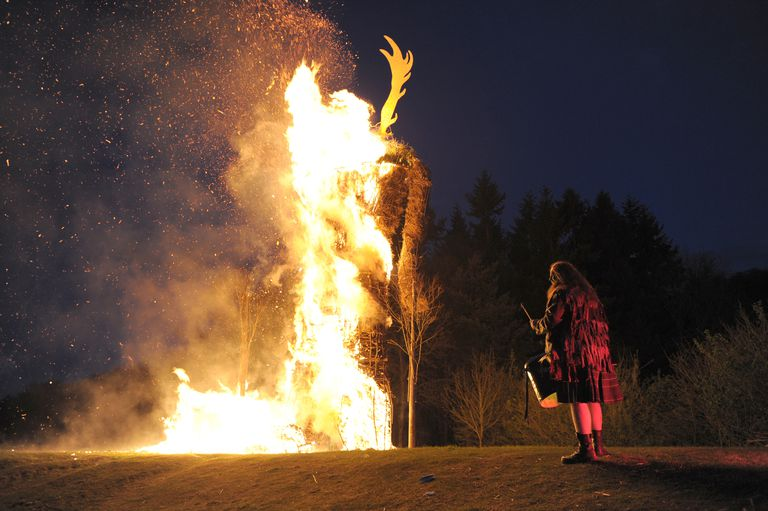 Beltain wickerman burning