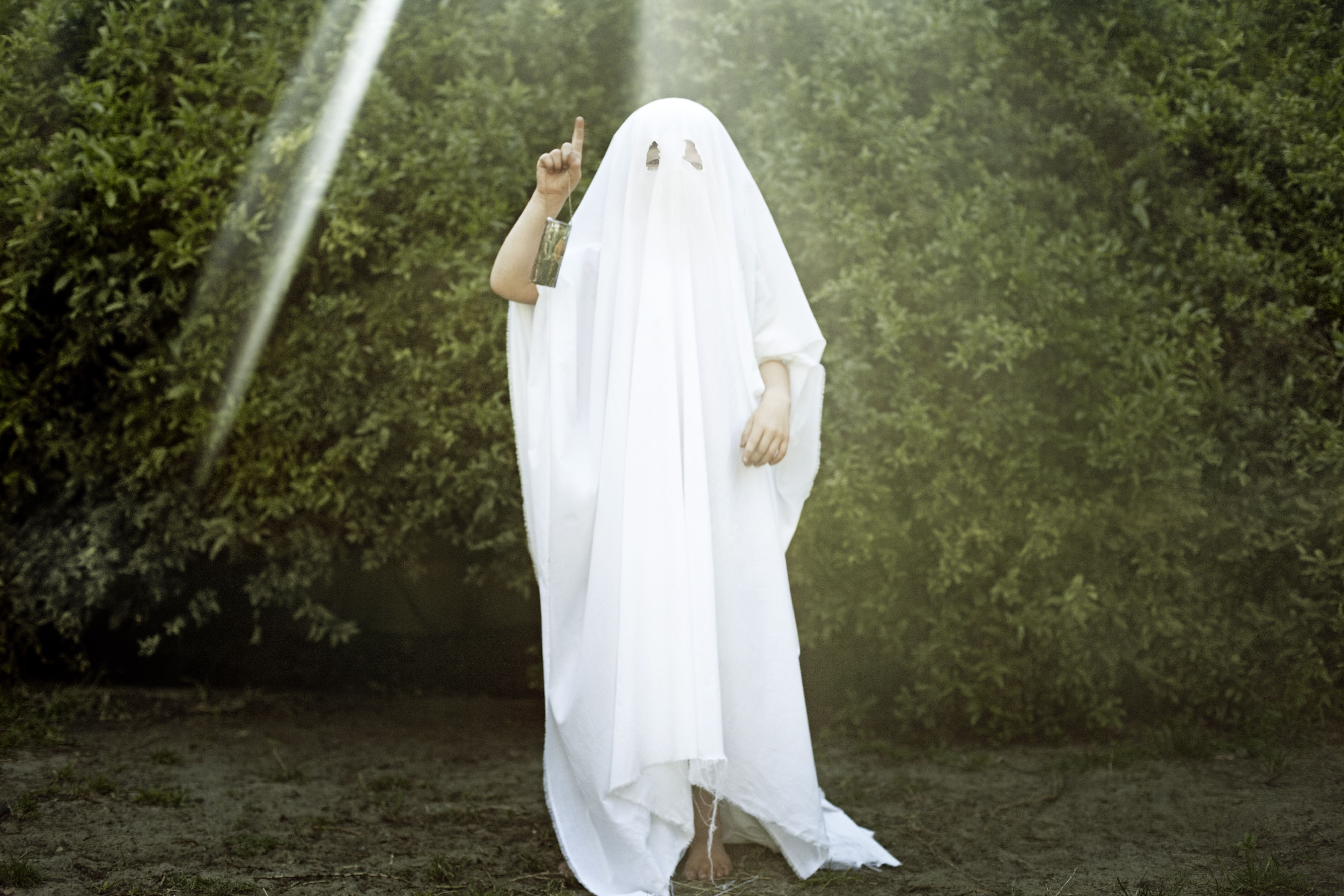 A child in bushes dressed as a ghost.