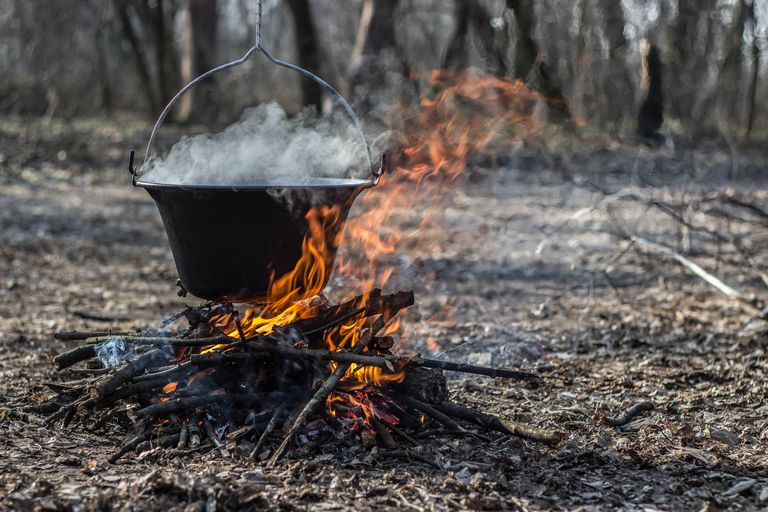 Cauldron On Burning Firewood In Forest