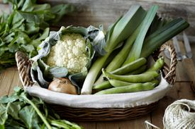 Vegetables in a basket on a table.