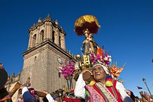 Peru, Cuzco Province, Cuzco, Corpus Christi feast, for several days in June, parade through the streets, the Virgin and Saints of the city, Virgin of the Nativity