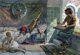 King Saul endeavors to pierce David