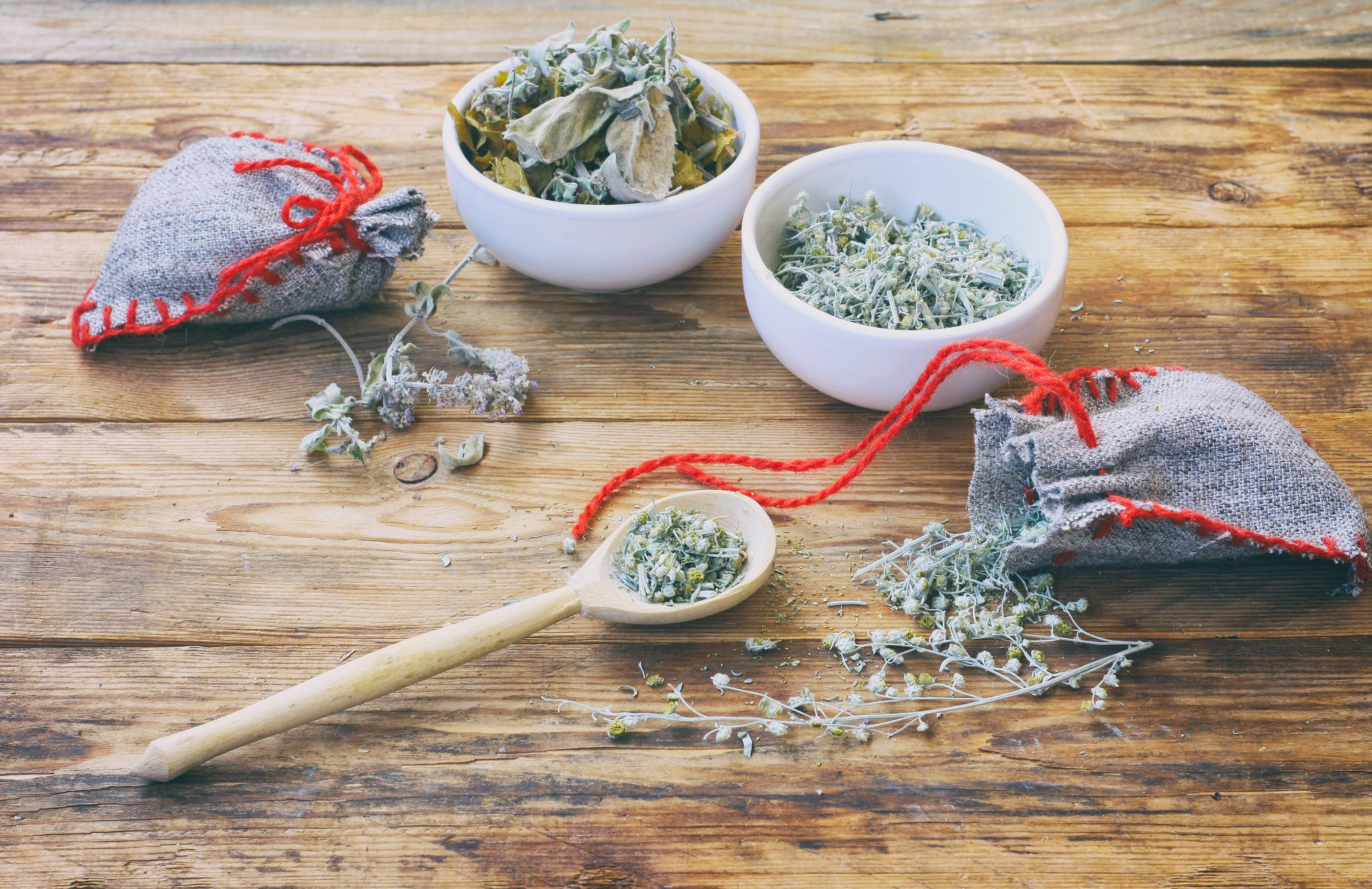 homemade sachets with dry herbs