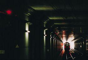 Train inside a tunnel
