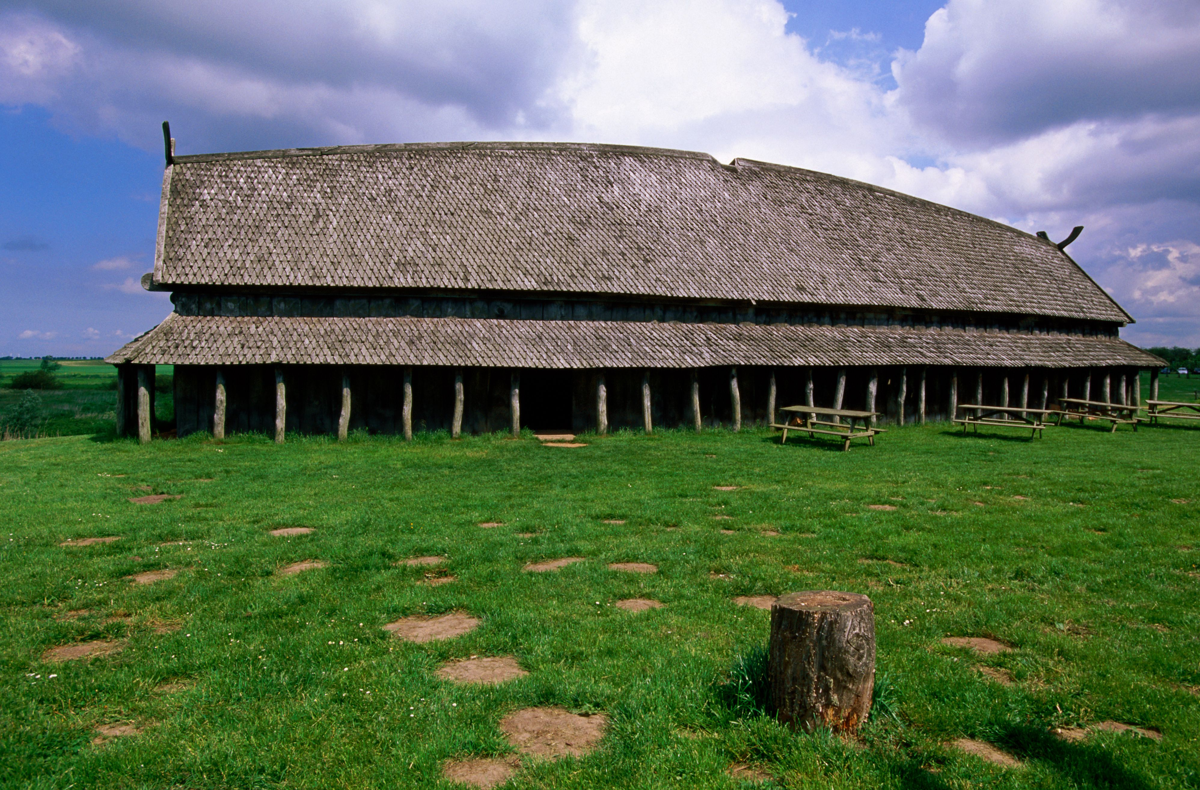 Longhouse in stave style at Viking Ring Fortress (960), Trelleborg, West Zealand, Denmark, Europe