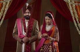 bride and groom in a sikh wedding