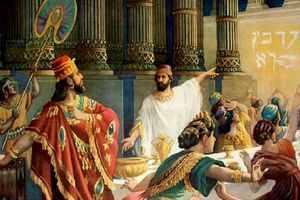 Artist rendering of Belshazzar's feast when the writing appears on the wall.