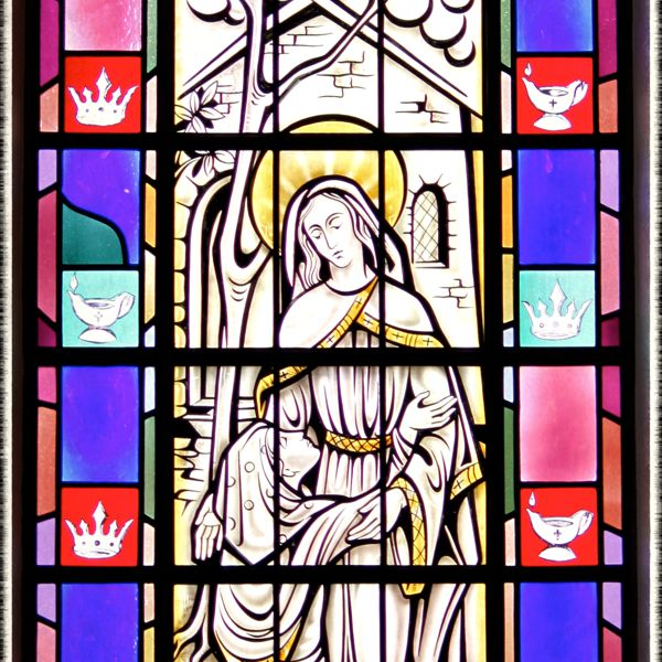 Stained-glass window of the Visitation in St. Mary's Church, Painesville, OH. (© Scott P. Richert)