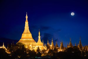 Temple and moon in Myanmar