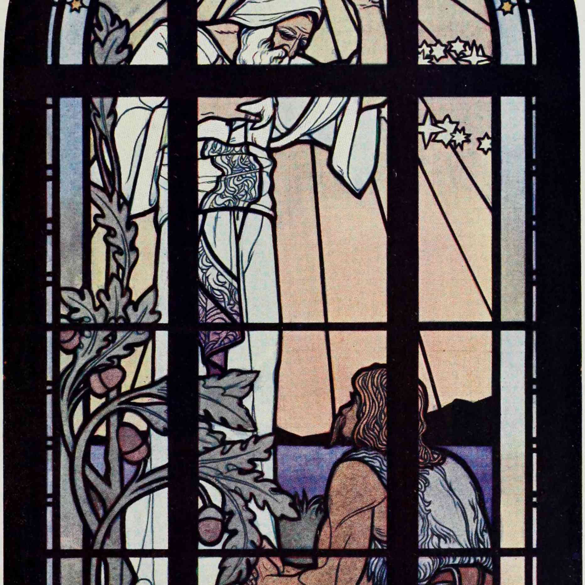 Rabbi Hillel and the gentile. Stained glass window in the lodge of Bnai Brith in Hamburg.