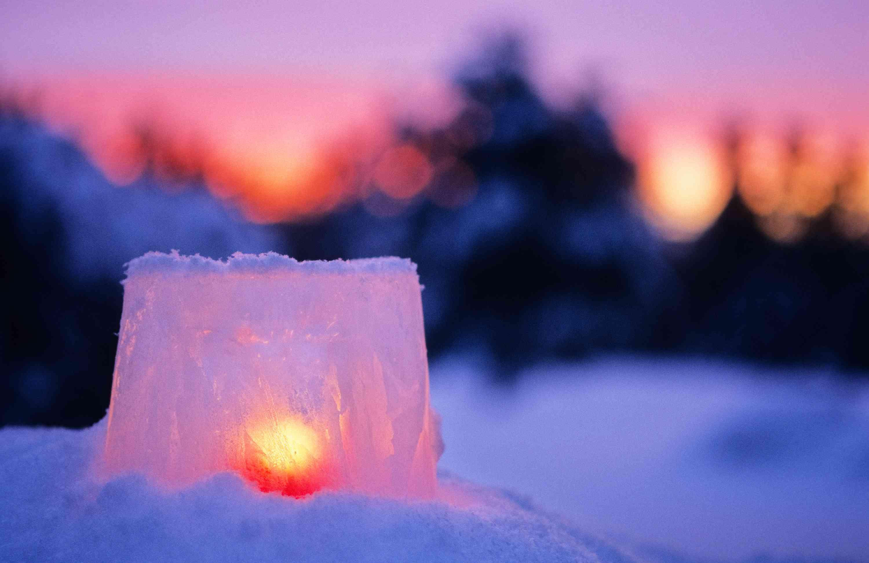 Ice lantern in snow