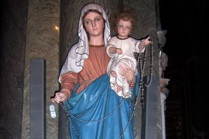 A statue of Our Lady of the Holy Rosary in the Basilica of Santa Maria sopra Minerva in Rome, Italy.