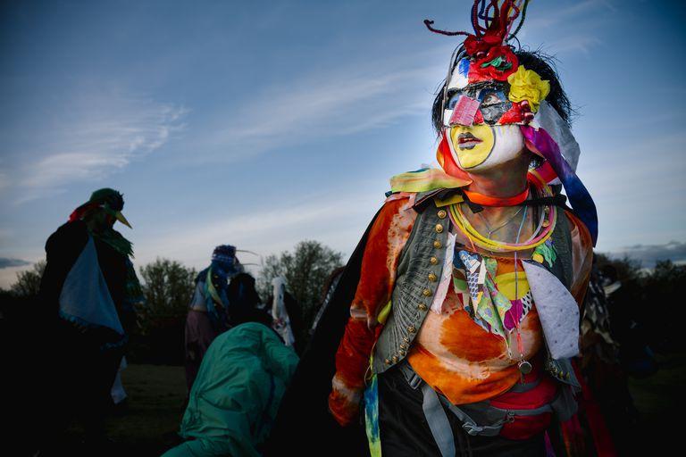 Bird Woman Performer at the Beltane Fire Festival, Edinburgh
