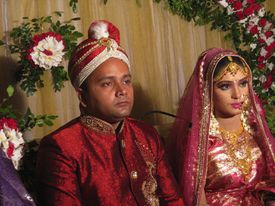 A portrait of newly married couple from Dhaka, Bangladesh in 2014