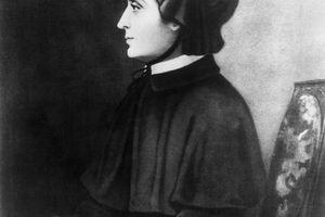 Portrait of Elizabeth Seton holding prayer beads.