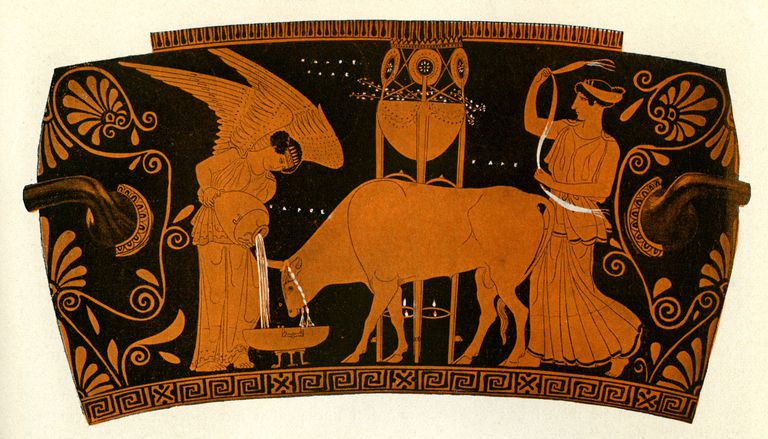 Ancient Greek women caring for a sacrificial bull