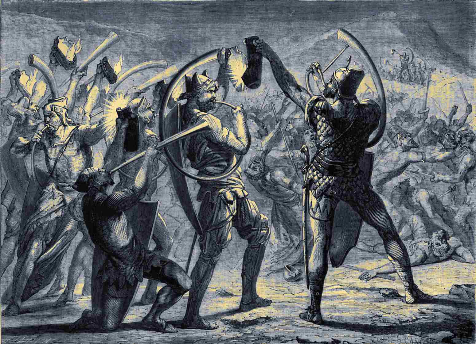 Gideon surprising the army of the Midianites