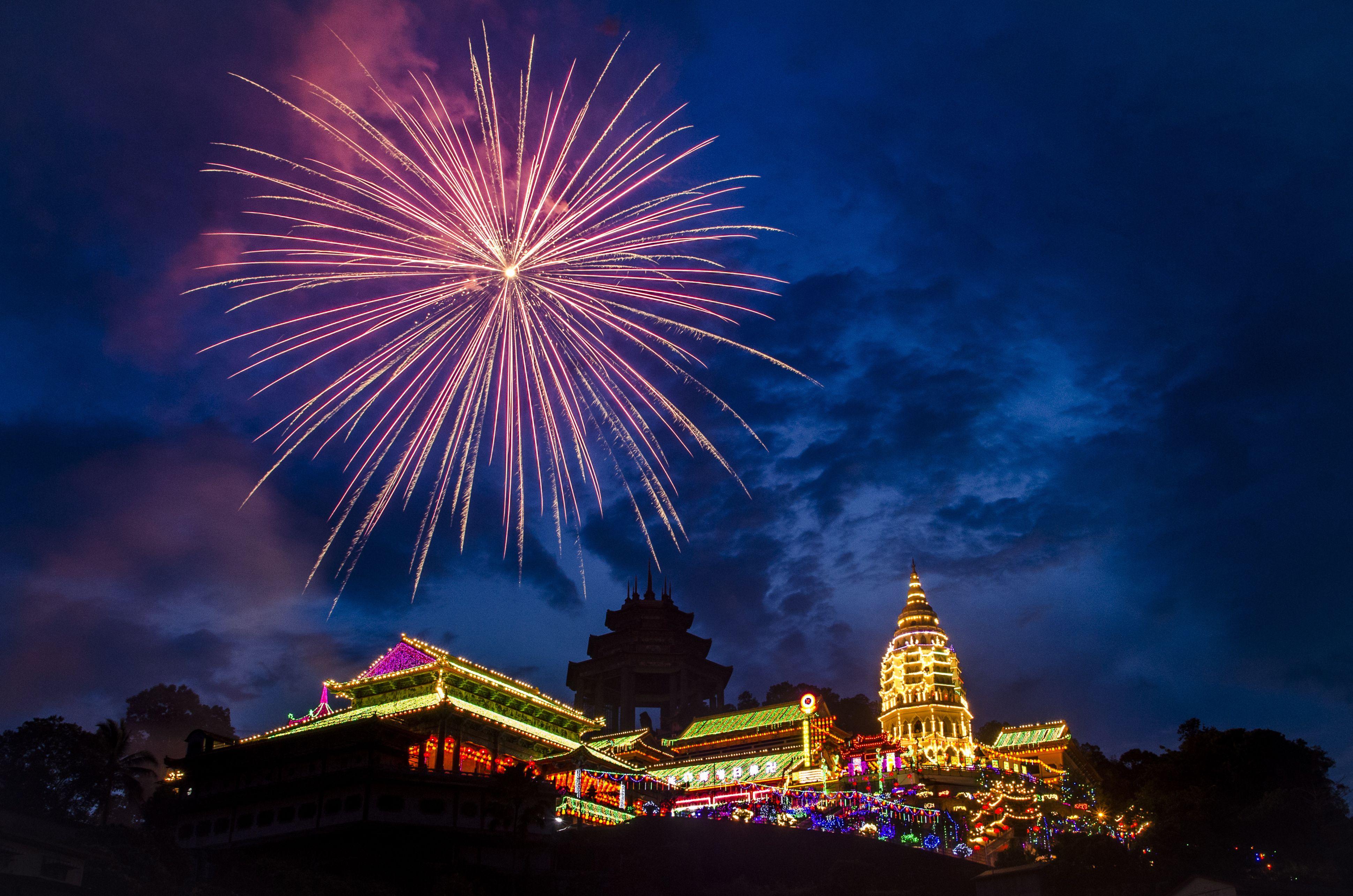 Fireworks celebrating Chinese New Year at Kek Lok Si Temple, Penang, Malaysia