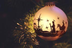 Nativity Scene silhouette on Christmas Ornament