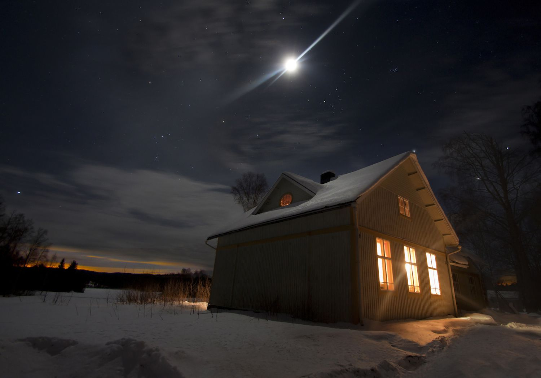 Winter Moon Over Snowy Cabin