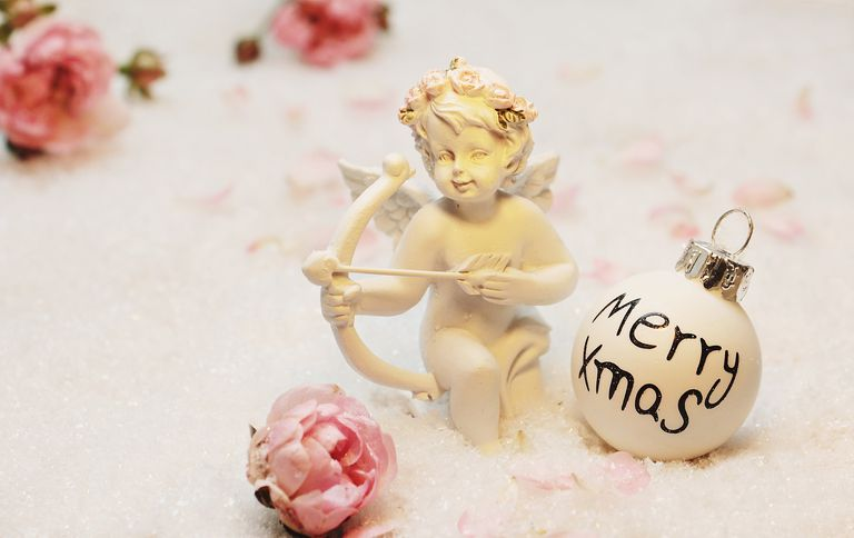cherub, roses, Christmas ornament