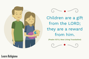 An illustration of a family accompanying the bible verse
