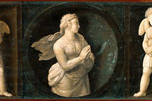 Baglioni Retable. Theological Virtues . Hope, by Raffaello Sanzio a.k.a Raphael (1483-1520). Oil on wood, 16x44 cm, 1507. Pinacoteca, Vatican Museums, Vatican State