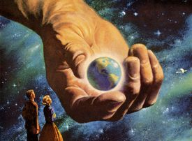 Vintage illustration of a hand holding the Earth