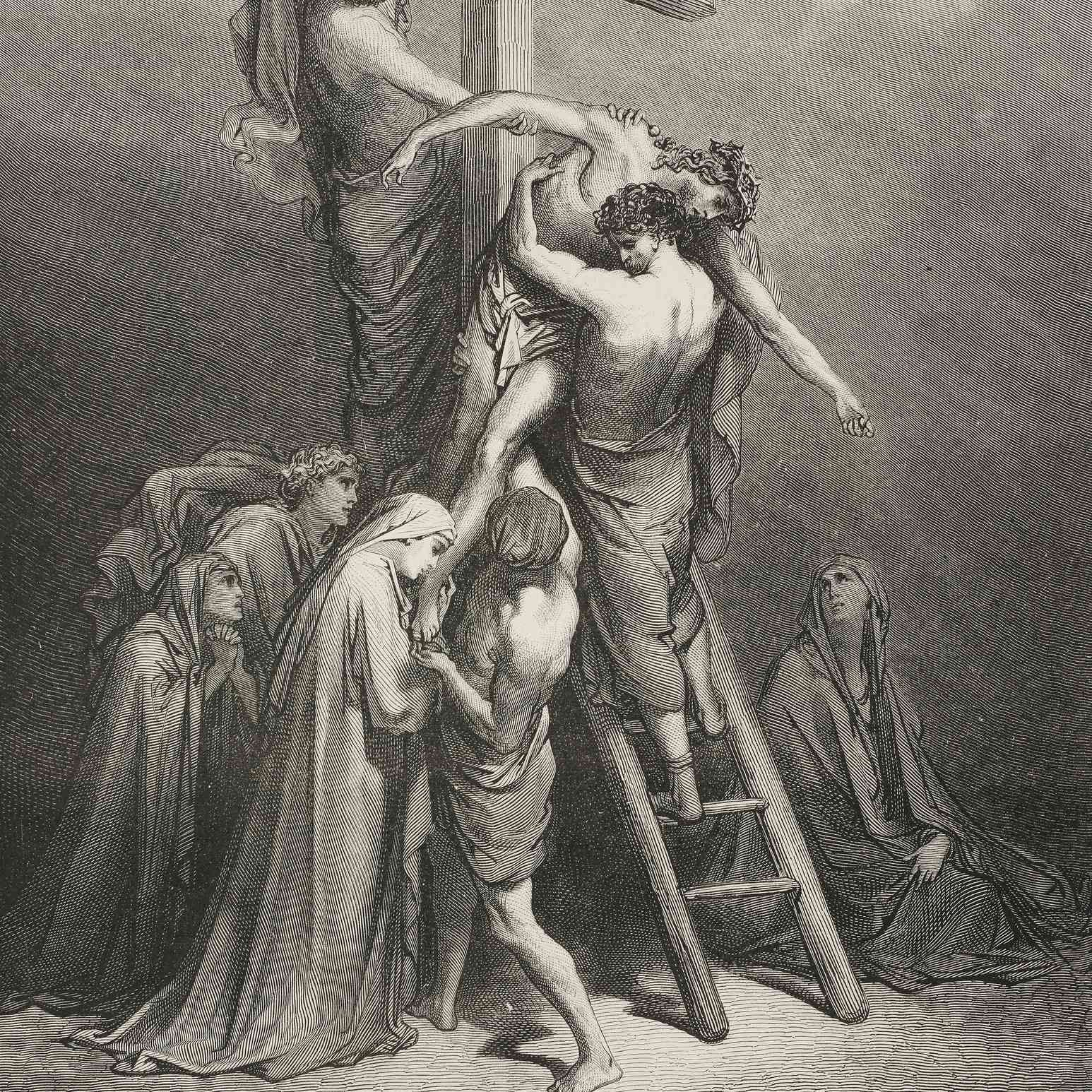 Joseph of Arimathea brings Jesus down from cross