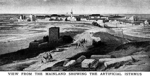 Tyre, Lebanon: Mainland and Artificial Isthmus of Tyre, Lebanon. Late 19th Century Illustration