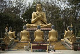 Statue of buddha with followers in Cambodian temple.