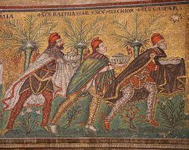 The Magi. Mosaic from a late 6th century mosaic at the Basilica of Sant'Apollinare Nuovo in Ravenna.