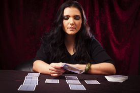 Tarot Reader with cards in front of her