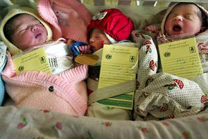 Infants with documents strapped to them in Afghanistan