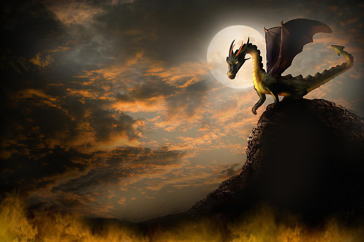 Painting of a dragon on a hill with full moon in background