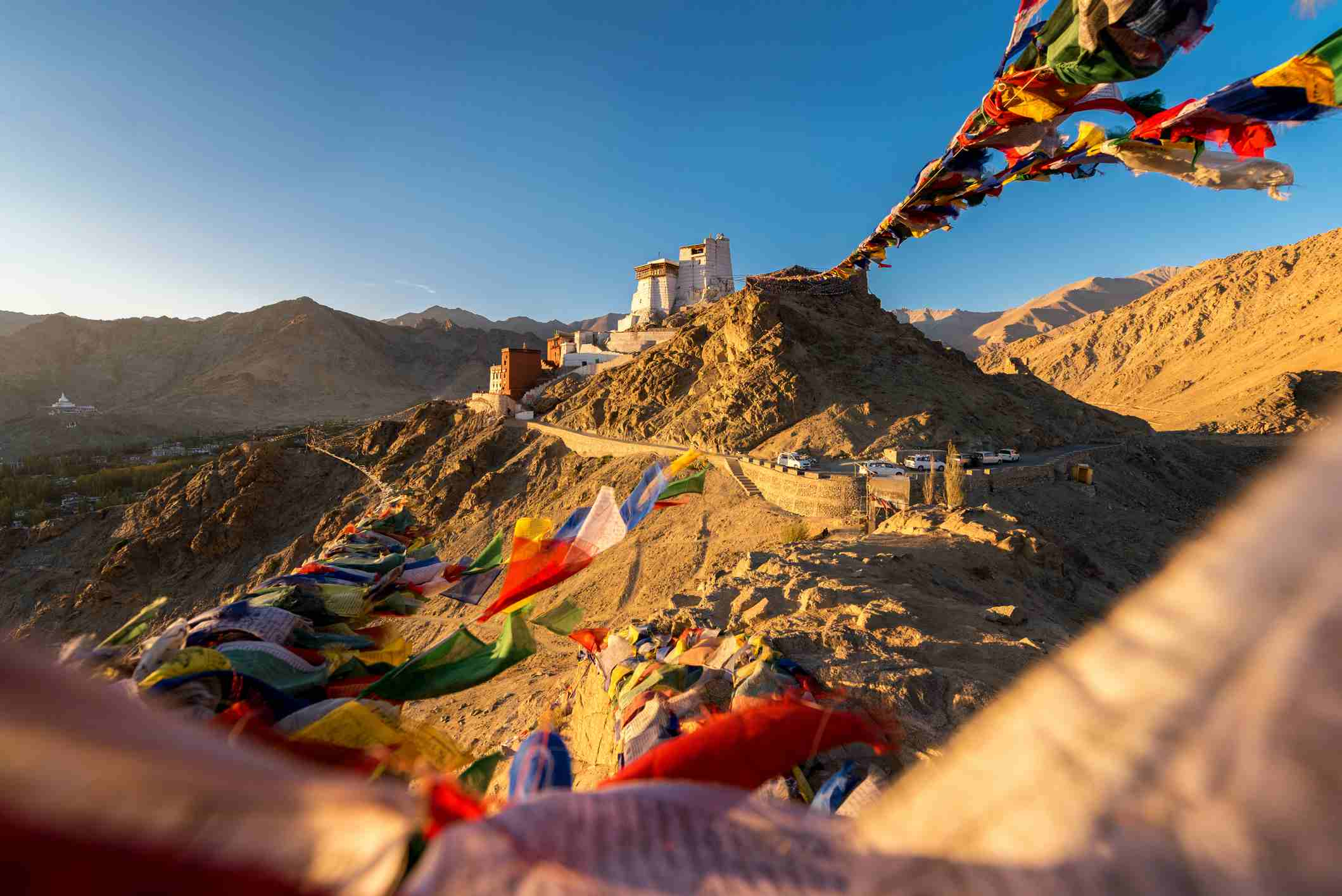 Prayer tibetan flags and the Namgyal Tsemo Monastery with mountain background in Leh, Ladakh