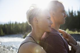 Serene Couple on the Lake