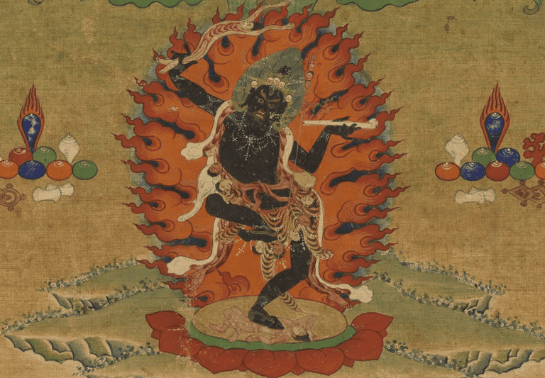 Wrathful dakini; detail from a 19th century Tibetan thangka painting.