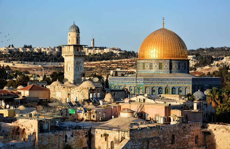Golden Dome of the Rock with blue sky in Jerusalem, Israel
