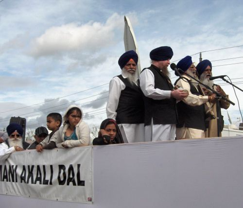 Ragis Perform Kirtan on a Float in the Yuba City Annual Sikh Parade