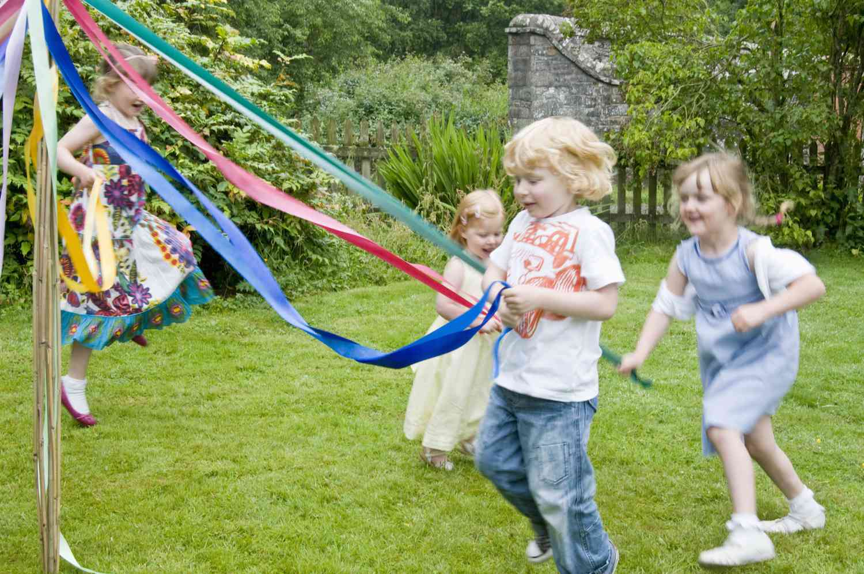 Kids Dancing Around Maypole