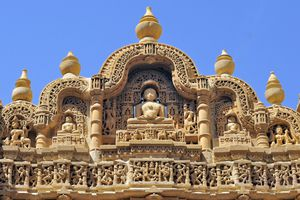 India, Rajasthan, bas-relief on the frontage of a Jain temple in Jaisalmer