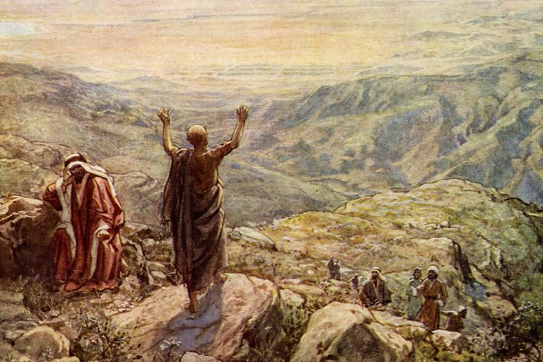 Balaam blessing the camp of Israel.