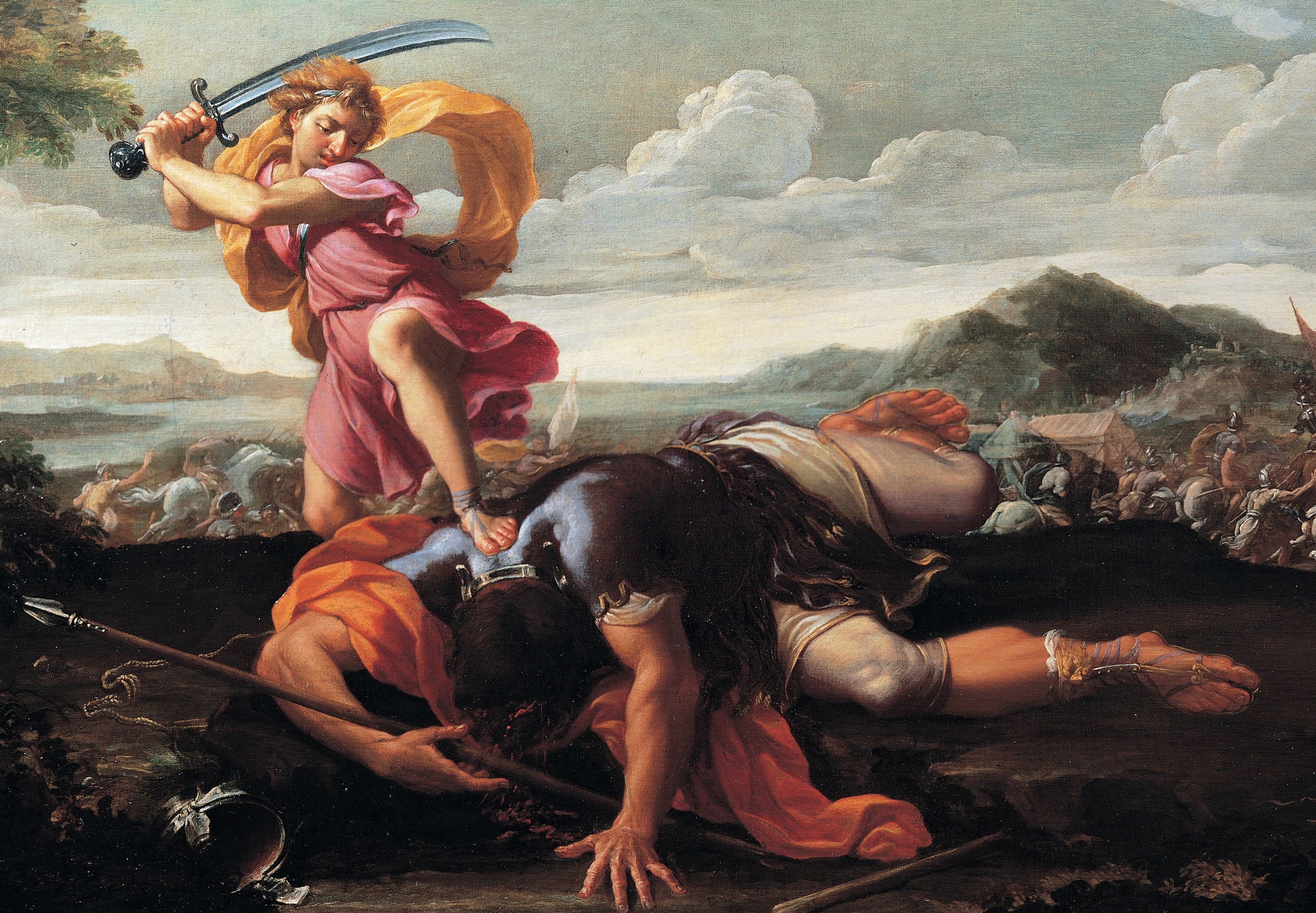 David and Goliath, 1650-1660. Artist: Courtois, Guillaume (1628-1679)