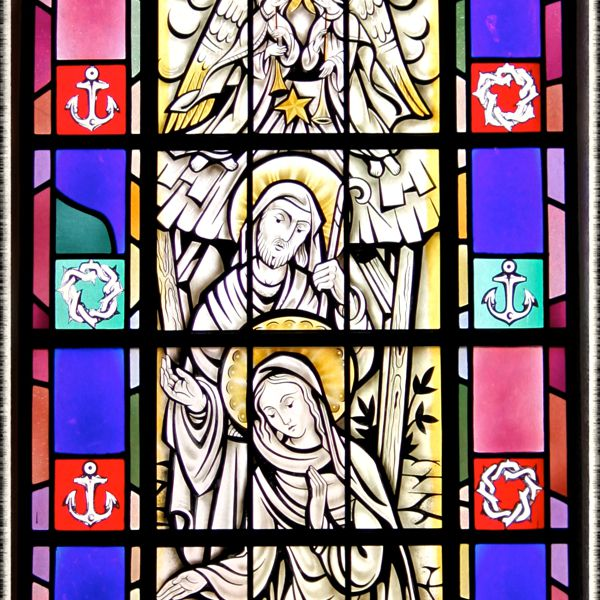 Stained-glass window of the Nativity in St. Mary's Church, Painesville, OH. (© Scott P. Richert)