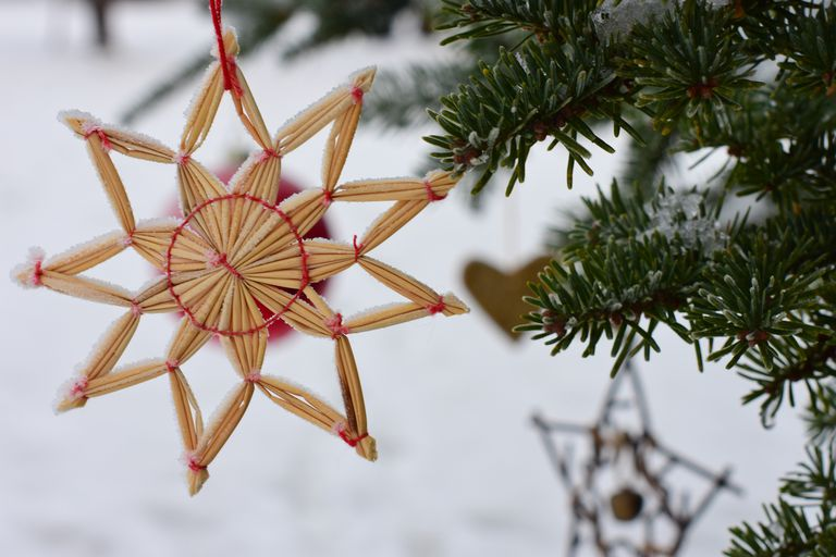 Norwegian Christmas traditions. Christmas ornaments hanging on a tree in the garden. snow.