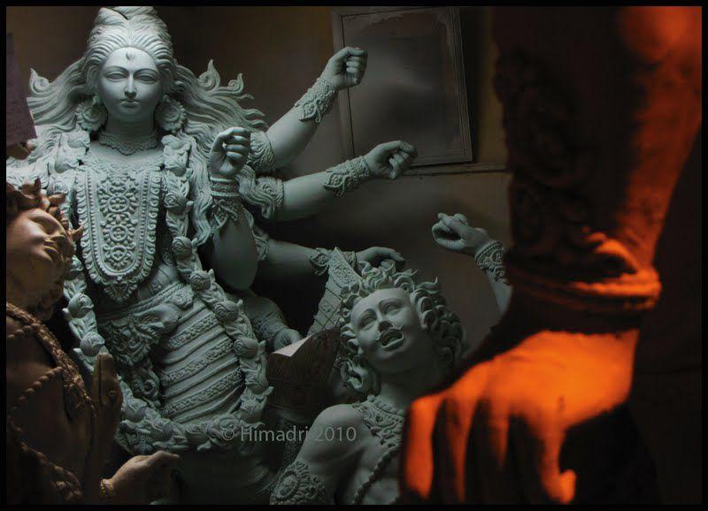 A highly detailed Durga idol